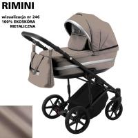 Детская коляска 2 в 1 с люлькой и прогулочная для новорожденных трансформер Adamex Rimini ECO кожа 100% RI-246. 31080
