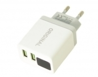 Зарядное устройство адаптер MHz 220В CX QC03 5740 с 2 USB и LED дисплеем. 44955