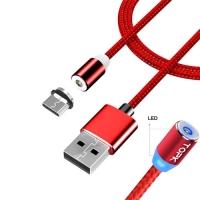 Кабель магнитный F&D USB Type-C для Xiaomi Huawei LG 2.4А TOPK 2м нейлон. 44339