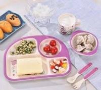 Детская бамбуковая посуда 3 в 1 Русалка (лиловый) Memos. 49300