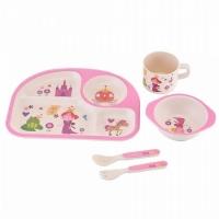 Детская бамбуковая посуда Memos 3 в 1 Принцесса (розовый). 49293