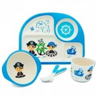 Детская бамбуковая посуда Memos 3 в 1 Пират (голубой). 49292