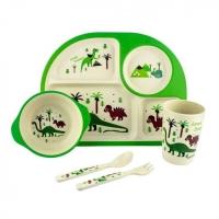 Детская бамбуковая посуда Memos 3 в 1 Динозавры (зеленый). 49297