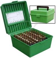 Коробка MTM R-100 на 100 патронов кал. 22-250 Rem, 243 Win, 6 mm BR Norma, 6,5x55, 6,5x284 Norma, 7,62x39, 30-30 Win, 308 Win, 30-06, 8x57 JRS, 9,3x74 R. Цвет – зеленый. 17730467