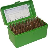 Коробка MTM RLLD-50 на 50 патронов кал. 6,5x284 Norma, 7mm Rem Mag, 300 Win Mag, 300 Wby Mag, 300 RUM, 8x57 JRS, 8x68 S, 338 Win Mag, 338 Lapua Mag, 9,3x74 R, 375 H&H Mag и 416 Rem Mag. Цвет – зеленый. 17730476