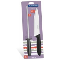 Набор ножей Tramontina Plenus 2 предмета (нож 178мм + мусат) Black (23498/011). 45702