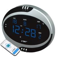 Часы сетевые VST-770Т-5 синие, температура, пульт Д/У, 220V. 32840
