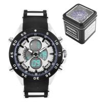 Часы наручные QUAMER 1103, Box, ремешок каучук, dual time, waterproof. 32767