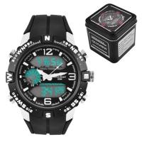 Часы наручные QUAMER 1509, Box, двухцветн. ремешок каучук, dual time, waterproof. 32778