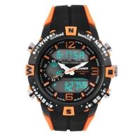 Часы наручные QUAMER 1509, двухцветн. ремешок каучук, dual time, waterproof. 32779