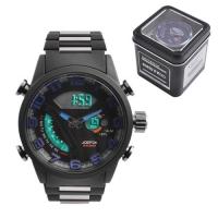 Часы наручные QUAMER 1512, Box, браслет карбон, dual time, waterproof. 32780