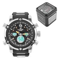 Часы наручные QUAMER 1526, Box, браслет карбон, dual time, waterproof. 32786