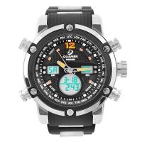 Часы наручные QUAMER 1526, браслет карбон, dual time, waterproof. 32787