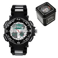 Часы наручные QUAMER 1514, Box, браслет карбон, dual time, waterproof. 32782