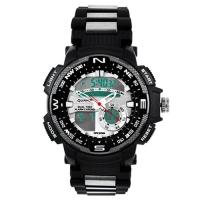 Часы наручные QUAMER 1514, браслет карбон, dual time, waterproof. 32784