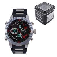 Часы наручные QUAMER 1702, Box, браслет карбон, dual time, waterproof. 32793