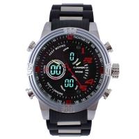 Часы наручные QUAMER 1702, браслет карбон, dual time, waterproof. 32796