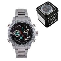 Часы наручные QUAMER 1702, Box, стальной браслет, dual time, waterproof. 32795