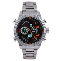 Часы наручные QUAMER 1702, стальной браслет, dual time, waterproof. 32798