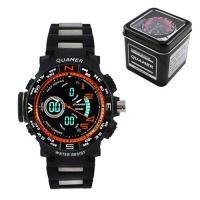Часы наручные QUAMER 1711, Box, браслет карбон, dual time, waterproof. 32799