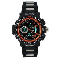 Часы наручные QUAMER 1711, браслет карбон, dual time, waterproof. 32800