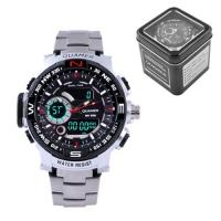 Часы наручные QUAMER 1730, Box, стальной браслет, dual time, waterproof. 32803