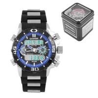 Часы наручные QUAMER 1320, Box, браслет карбон, dual time, waterproof. 32772