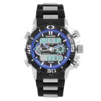 Часы наручные QUAMER 1320, браслет карбон, dual time, waterproof. 32774