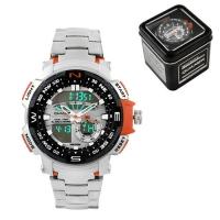 Часы наручные QUAMER 1514, Box, стальной браслет, dual time, waterproof. 32783
