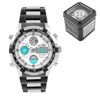 Часы наручные QUAMER 1603, Box, браслет карбон, dual time, waterproof. 32788
