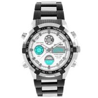 Часы наручные QUAMER 1603, браслет карбон, dual time, waterproof. 32789