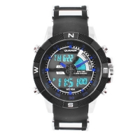 Часы наручные QUAMER 1104, ремешок каучук, dual time, waterproof. 32771