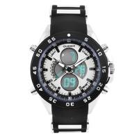 Часы наручные QUAMER 1103, ремешок каучук, dual time, waterproof. 32769