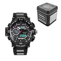 Часы наручные QUAMER 1730, Box, браслет карбон, dual time, waterproof. 32802