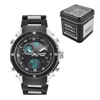 Часы наручные QUAMER 1801, Box, браслет карбон, dual time, waterproof. 32806