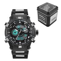 Часы наручные QUAMER 1802, Box, браслет карбон, dual time, waterproof. 32808