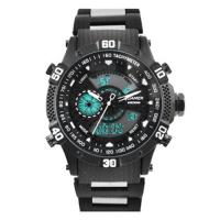 Часы наручные QUAMER 1802, браслет карбон, dual time, waterproof. 32809