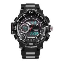 Часы наручные QUAMER 1730, браслет карбон, dual time, waterproof. 32804