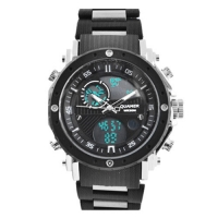 Часы наручные QUAMER 1801, браслет карбон, dual time, waterproof. 32807