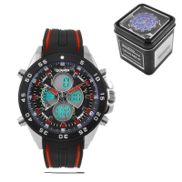 Часы наручные QUAMER 1103, Box, двухцветн. ремешок каучук, dual time, waterproof. 32766