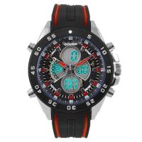 Часы наручные QUAMER 1103, двухцветн. ремешок каучук, dual time, waterproof. 32768