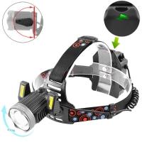 Фонарь налобный Police JR-6000-T6+2COB, ЗУ micro USB, 2х18650/3xAA, signal light, zoom, Box. 32561