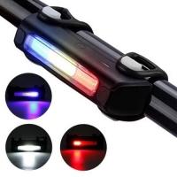 Фонарь велосипедный FY-306-3COB (blue+white+red), ЗУ micro USB, встроенный аккумулятор Lux. 32423