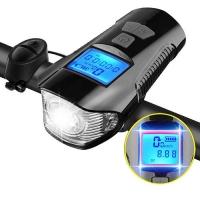 Велосипедный звонок + компьютер + велофара Lux XA-585-T6+2LED, ЗУ micro USB, встр. аккум., выносная кнопка. 31841
