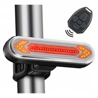 """Фонарь велосипедный Lux QCA2 """"STOP"""" с указанием поворотов (красный+желтый), ЗУ micro USB, встр. аккум., пульт. 32434"""