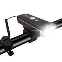 Велосипедный звонок + велофара Lux HJ-062 300Lumen, ЗУ micro USB, встр. аккум., выносная кнопка, датчик света,. 31840