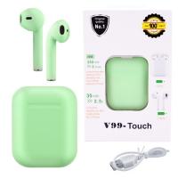 Беспроводные bluetooth-наушники Lux V99-Touch с кейсом, green. 31820