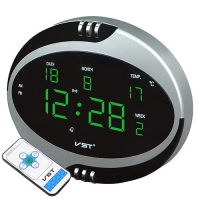 Часы сетевые VST-770Т-4 салатовые, температура, пульт Д/У, 220V. 32839