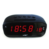 Часы сетевые VST-803-1 красные, температура, 220V. 32843