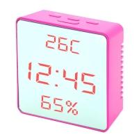 Часы сетевые VST-887Y-1, розовые, температура, влажность, USB. 32857